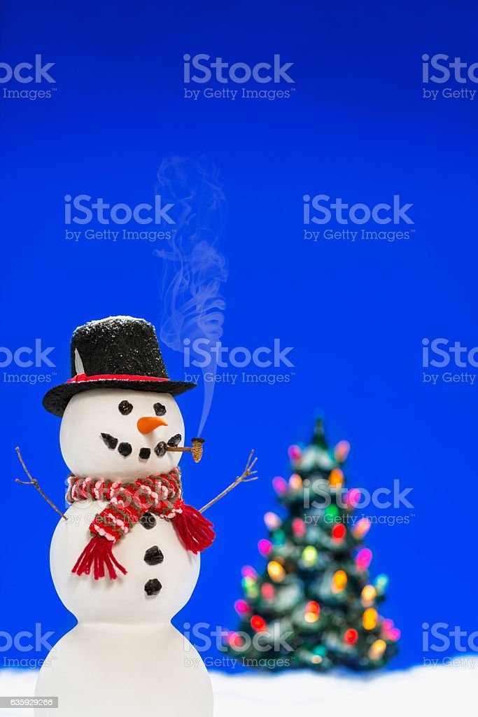 Snowman wearing Top Hat with lit Christmas tree in background stock photo