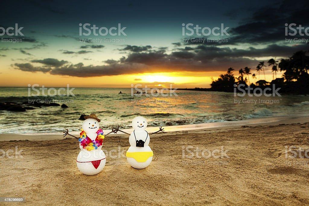Snowman Winter Vacation in Tropical Kauai Hawaiian Beach Hz stock photo