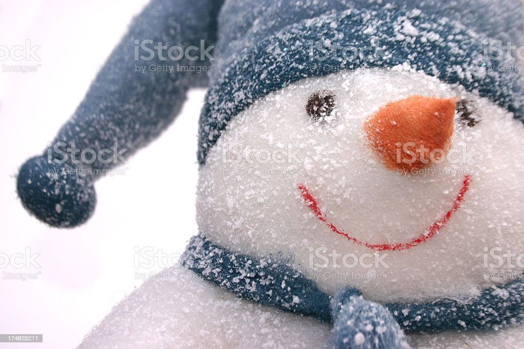 A snowman with a blue hat and scarf stock photo