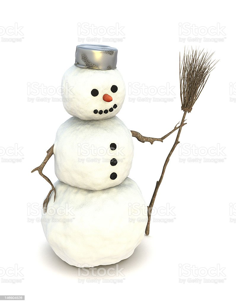 Snowman with broom royalty-free stock photo
