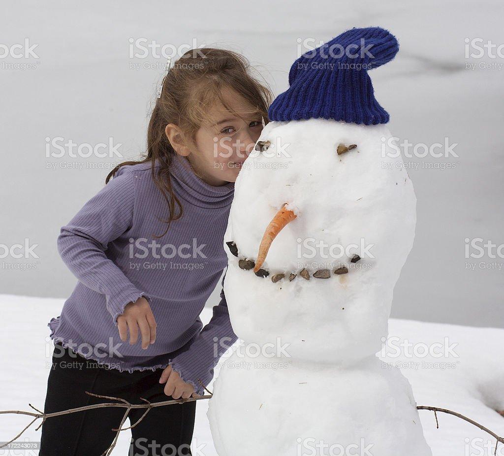 Pupazzo di neve con bambino 2 foto stock royalty-free