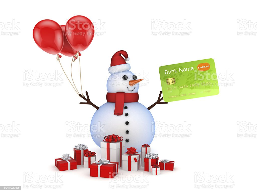 Snowman with credit card and gift boxes. stock photo
