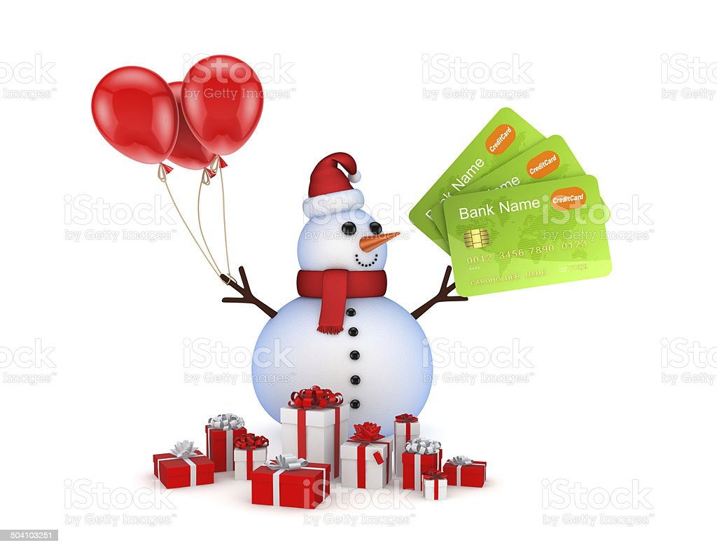 Snowman with credit cards and gift boxes. stock photo