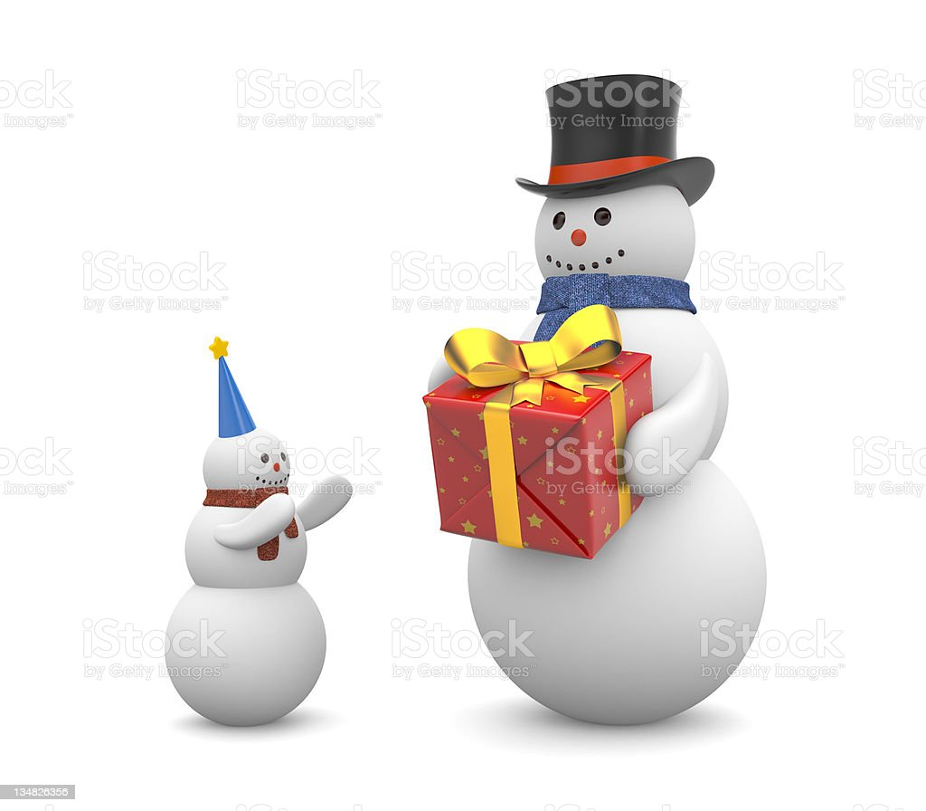 Snowman with gift royalty-free stock photo