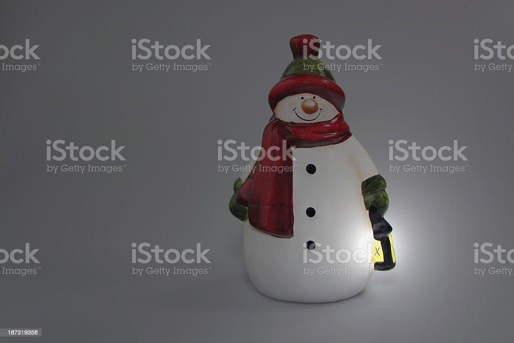 Snowman with Lantern royalty-free stock photo