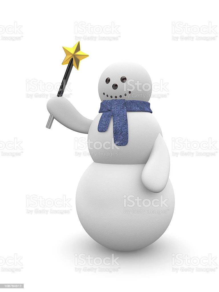 Snowman with magic wand royalty-free stock photo