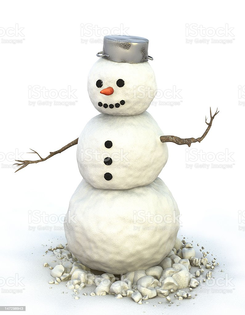 Snowman with pot on his head. royalty-free stock vector art