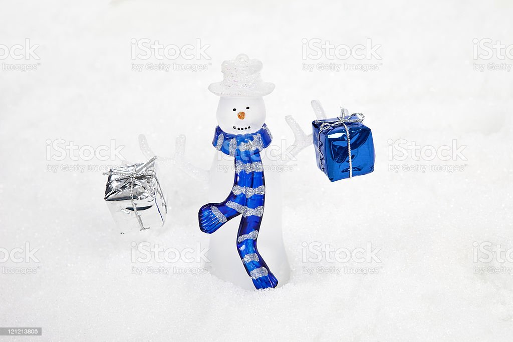 Snowman with Presents stock photo