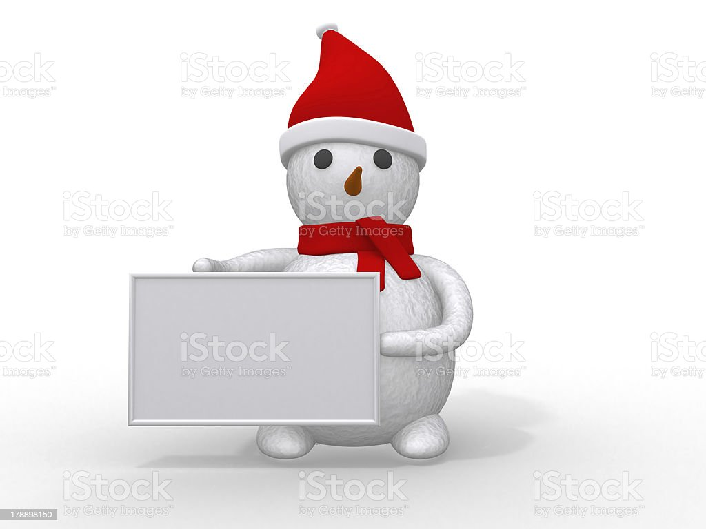 snowman with Santa Claus hat royalty-free stock photo