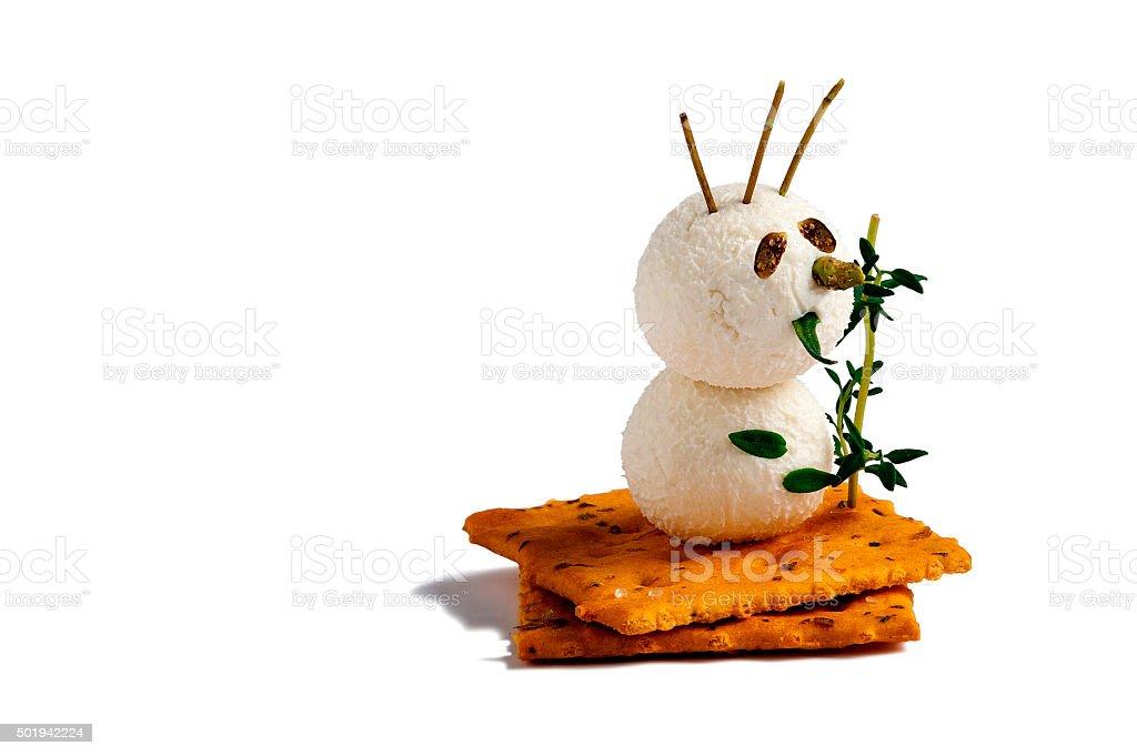 Snowman-shaped cheese balls stock photo