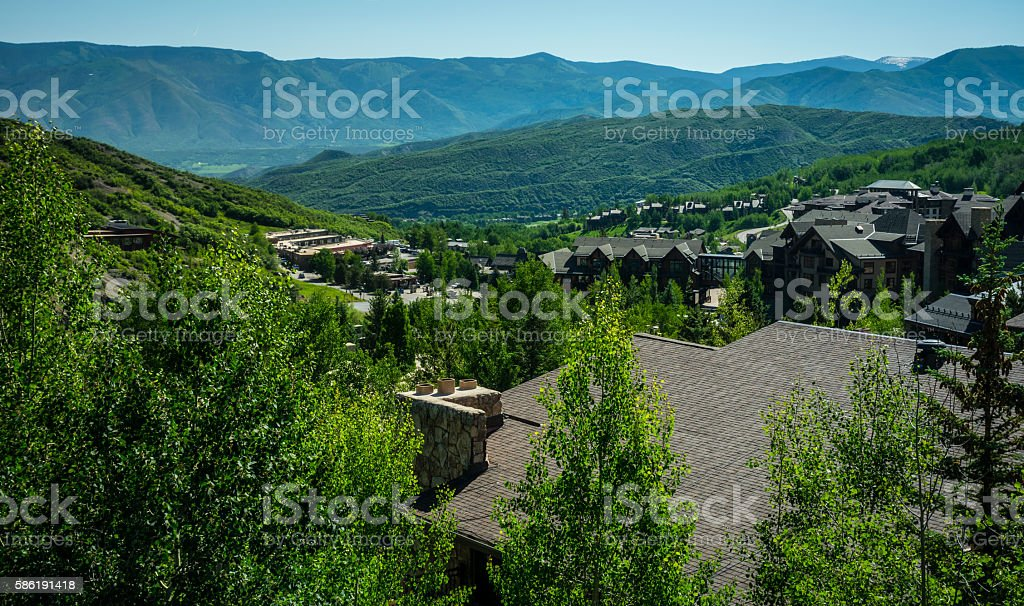 Snowmass Colorado Sunny Summer day overlooking rooftops stock photo