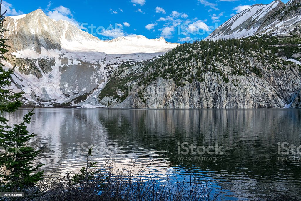 Snowmass Mirror Reflection Exploring Rocky Mountains stock photo