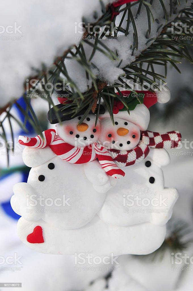 Snowmen Christmas ornament stock photo