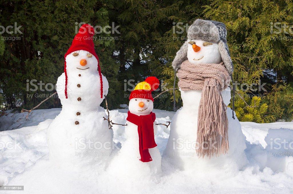 snowmen family stock photo