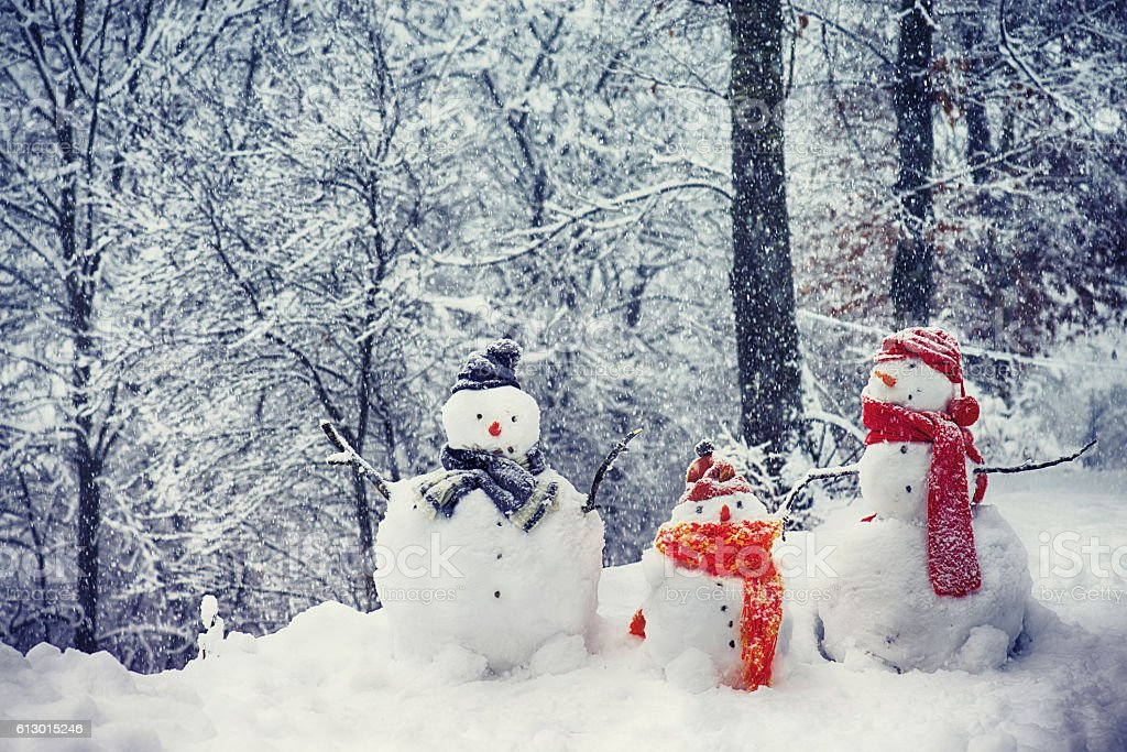 Snowmen Family stock photo