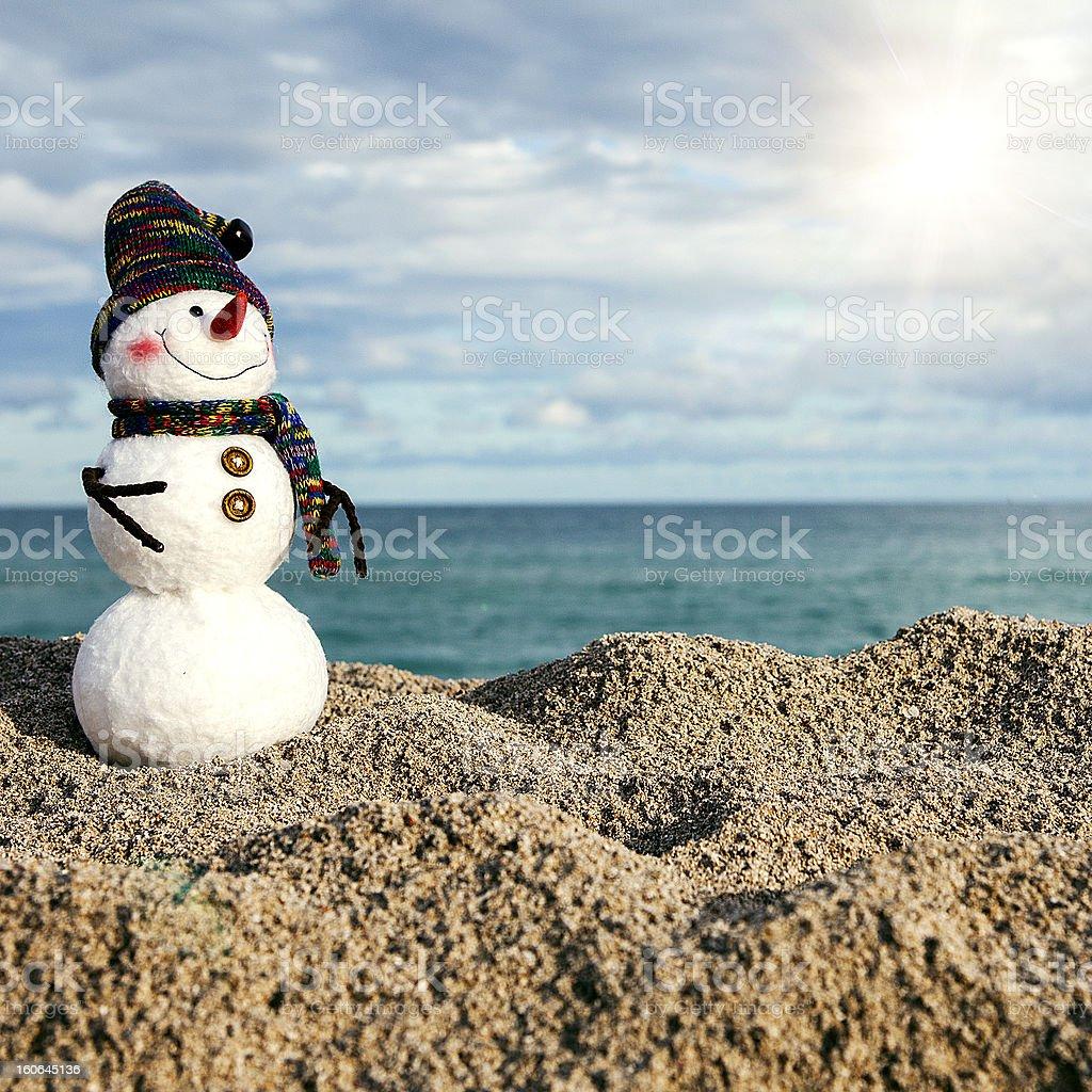 snowmen on the beach stock photo
