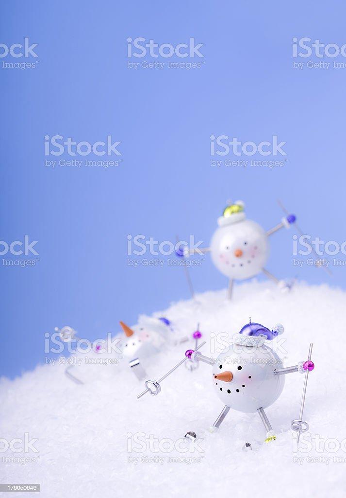 Snowmen Skiing royalty-free stock photo