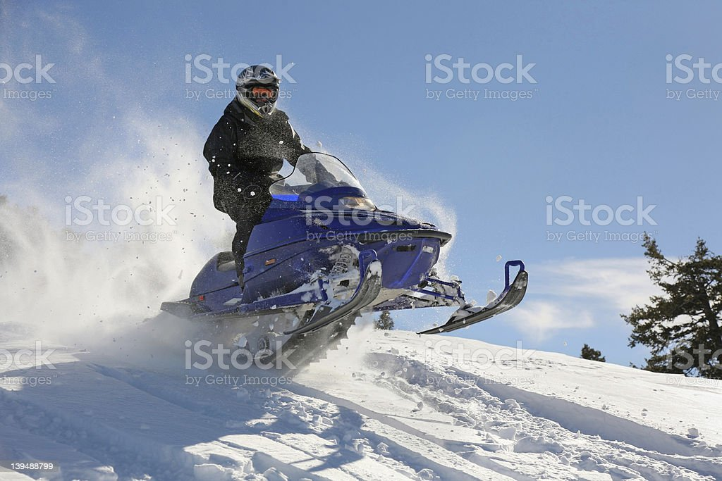 snowmobile action stock photo