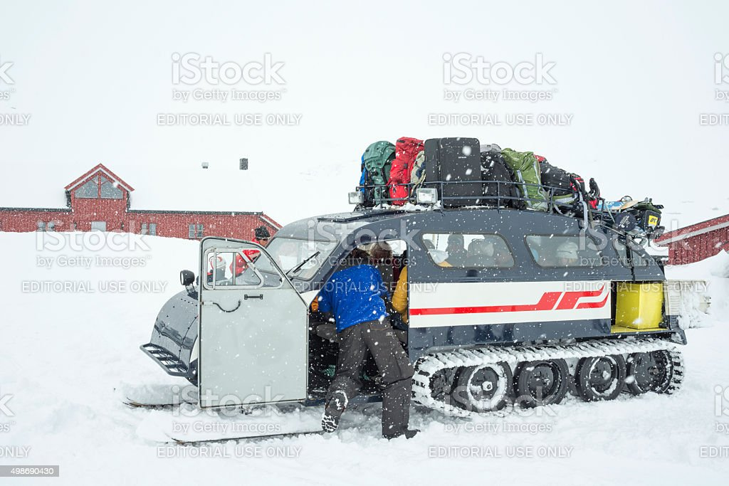 Snowmobile at mountain resort in Jotunheimen National Park in winter stock photo