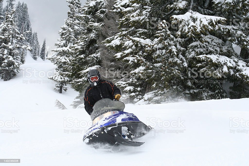 Snowmobile Carve royalty-free stock photo