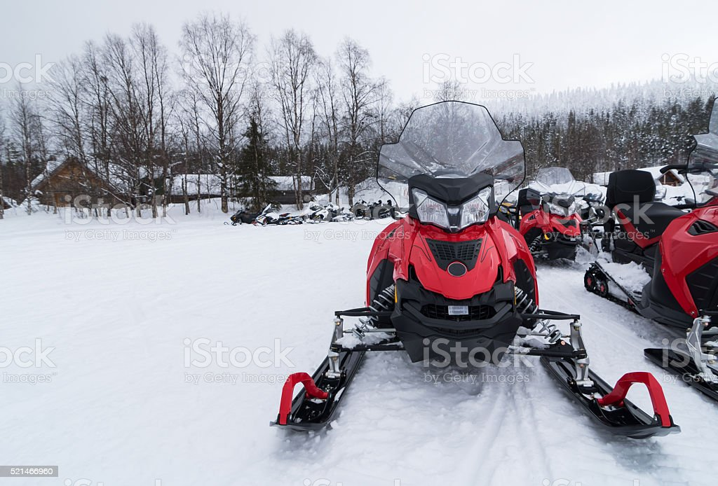 Snowmobile close up stock photo