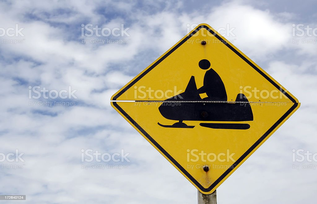 Snowmobile Crossing royalty-free stock photo