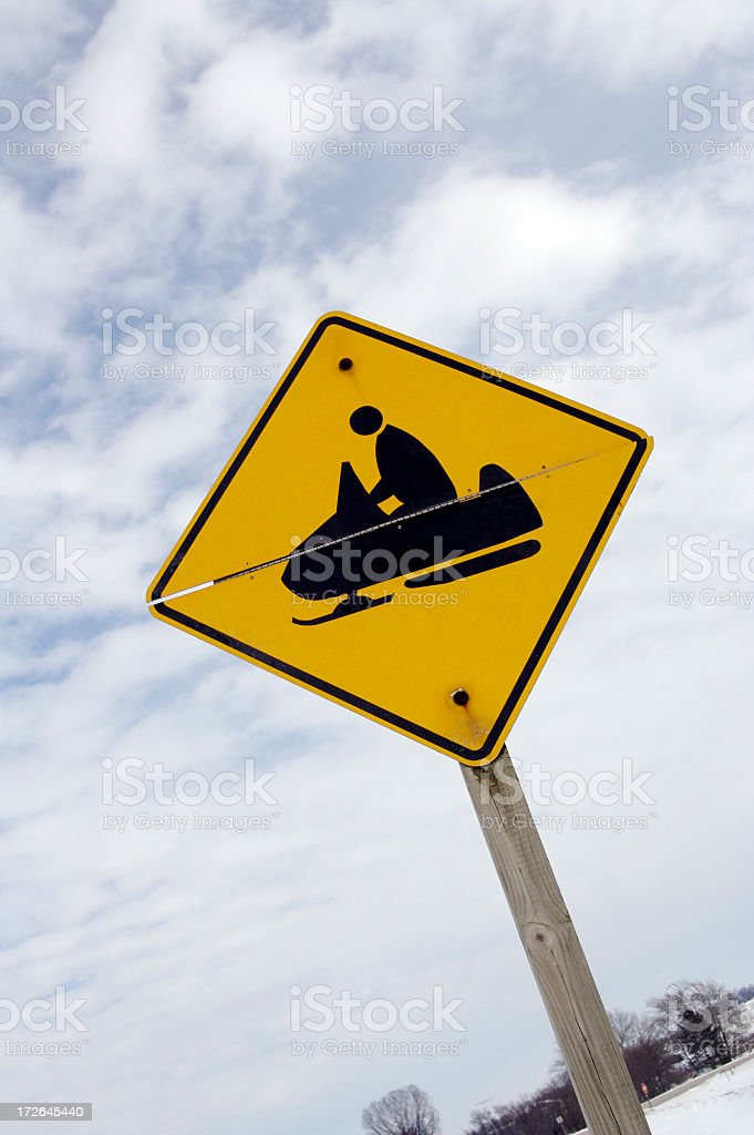 Snowmobile Crossing Sign royalty-free stock photo