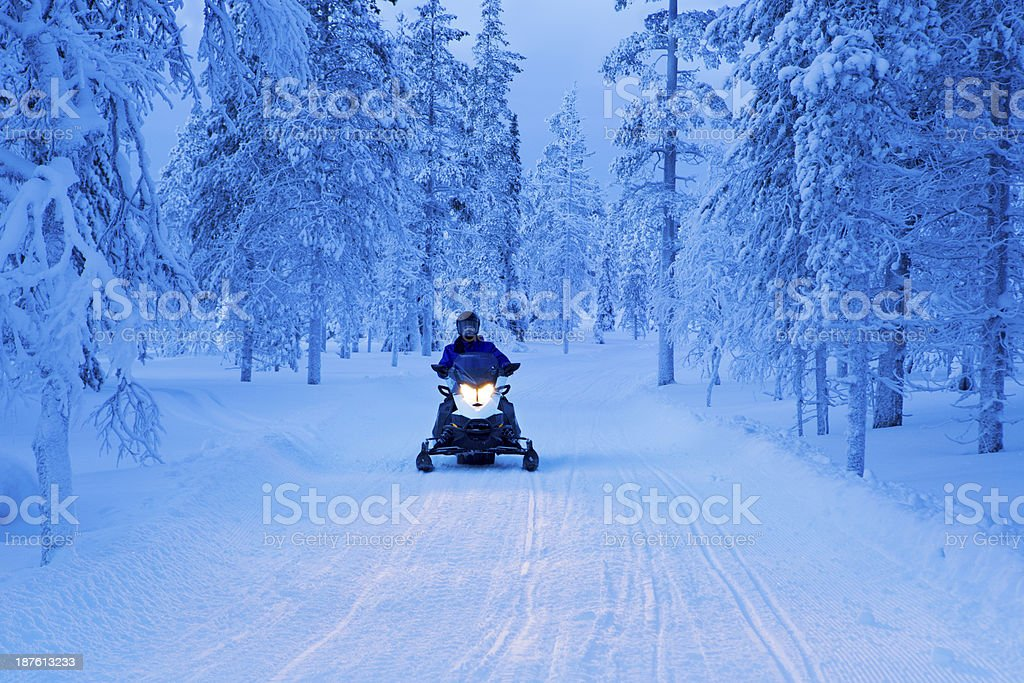 Snowmobile driving through frozen forest in Finnish Lapland at dusk stock photo