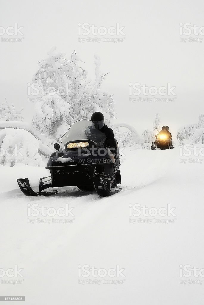 Snowmobile Expedition Winter Landscape royalty-free stock photo