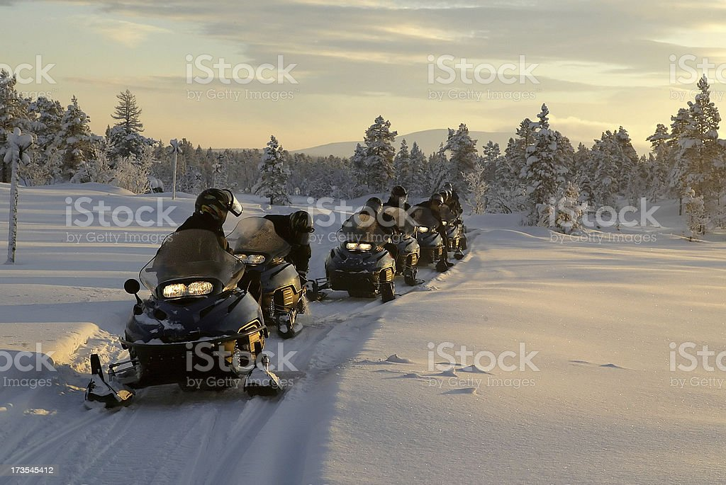 snowmobile expedition winter landscape stock photo