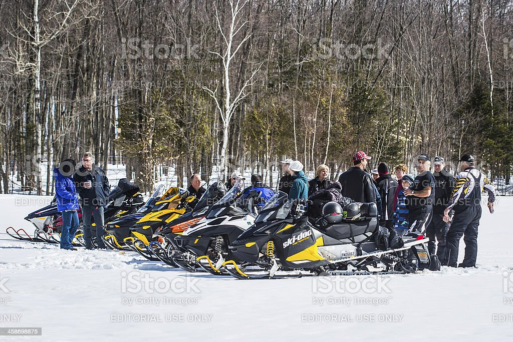 Snowmobile gathering royalty-free stock photo