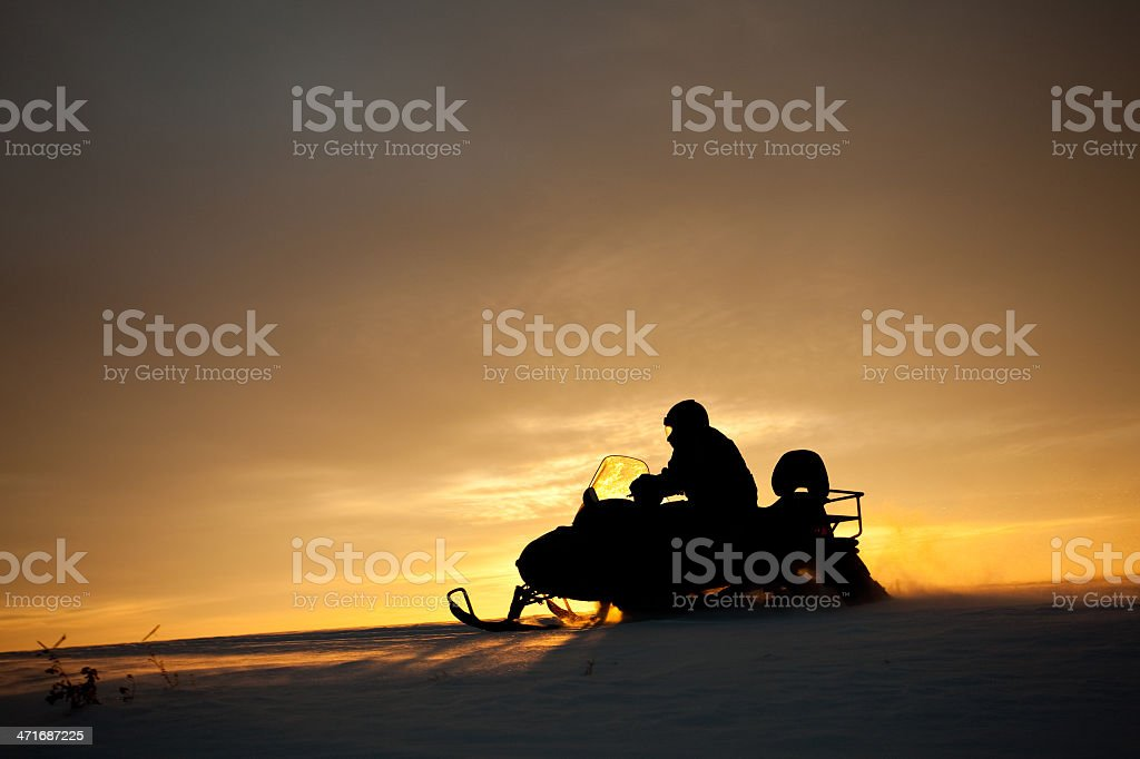 Snowmobile in Action royalty-free stock photo