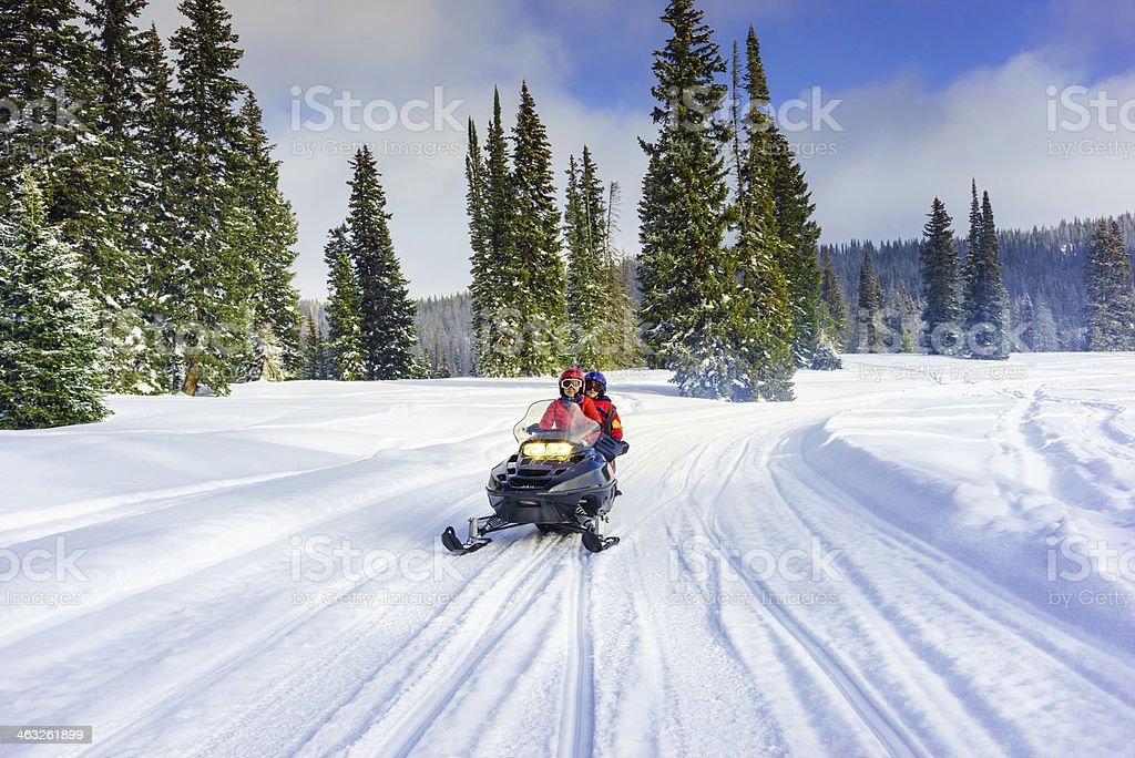 snowmobile in colorado stock photo