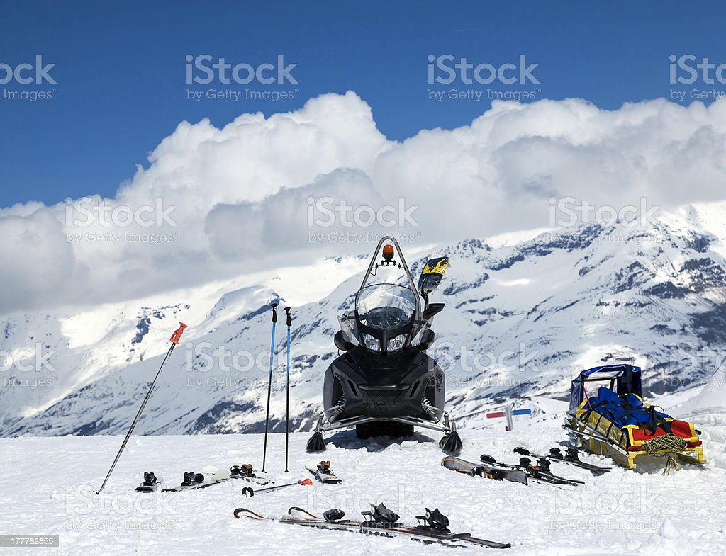 Snowmobileì in the mountains royalty-free stock photo