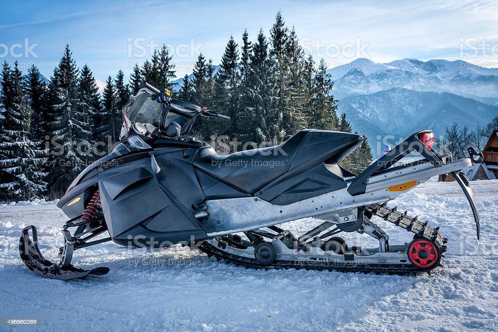 Snowmobile in the Tatra Mountains stock photo