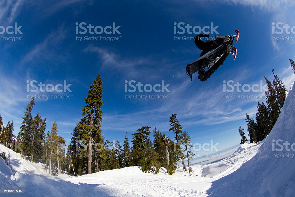 Snowmobile Jump stock photo
