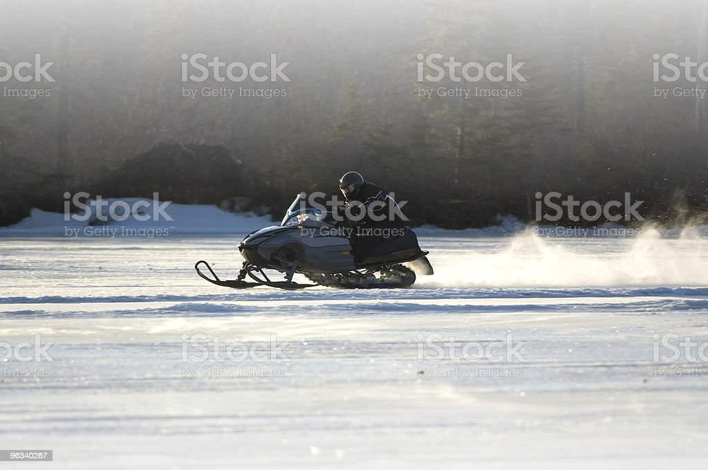 Snowmobile on Lake stock photo