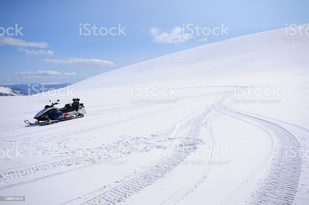 Snowmobile on Vatnajokull Glacier stock photo