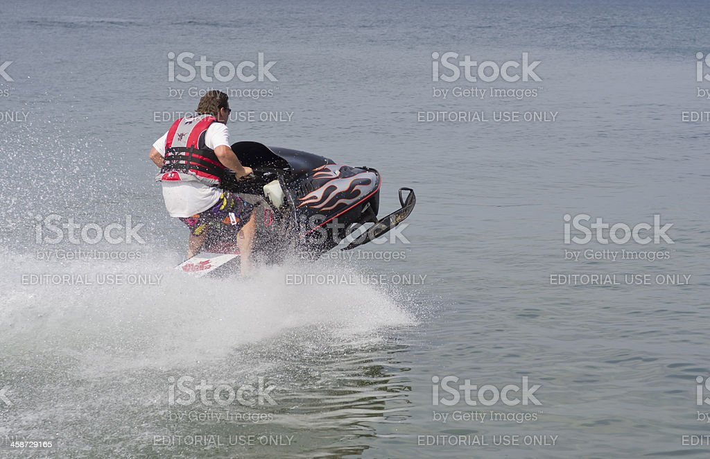 Snowmobile on Water royalty-free stock photo