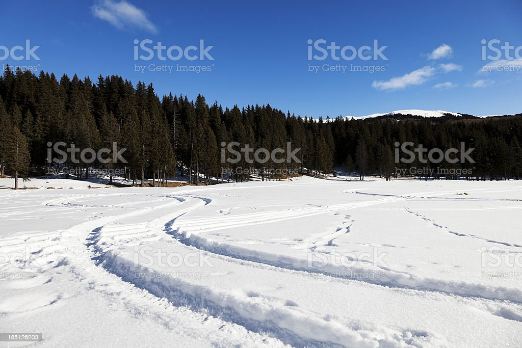 Snowmobile Paths in the snow. Mountain landscape. royalty-free stock photo