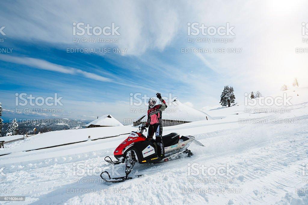 Snowmobile stock photo