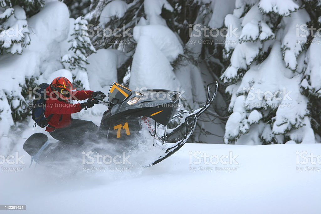 Snowmobile Roost stock photo
