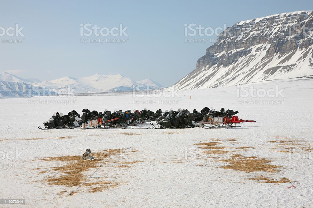 Snowmobile safari on Svalbard, Norway royalty-free stock photo