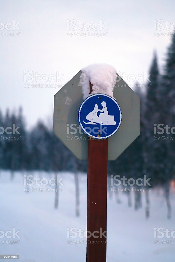 snowmobile sign finland lapland royalty-free stock photo