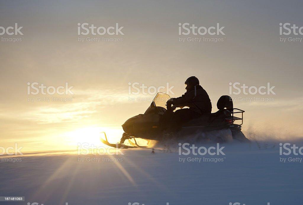 Snowmobile Silhouette stock photo