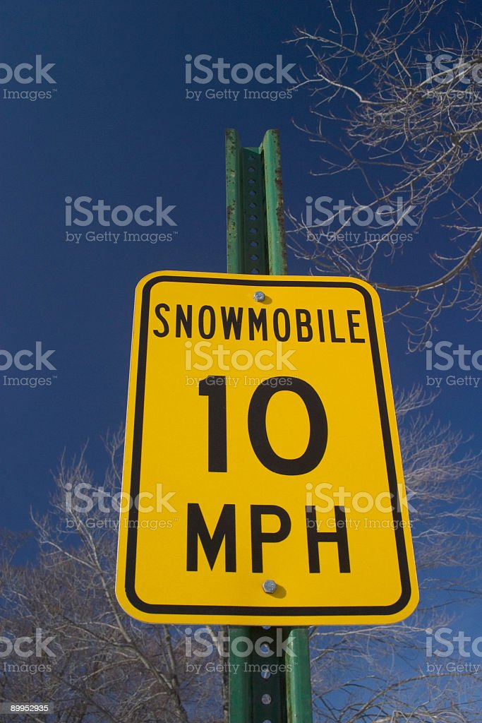 Snowmobile Speed Sign royalty-free stock photo