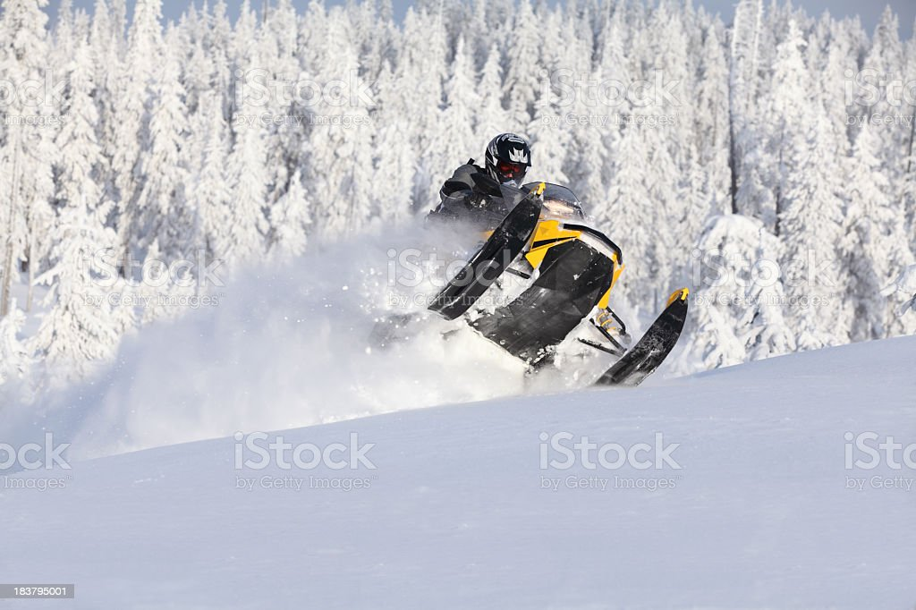 Snowmobile splashing snow with snowy pines in the background stock photo