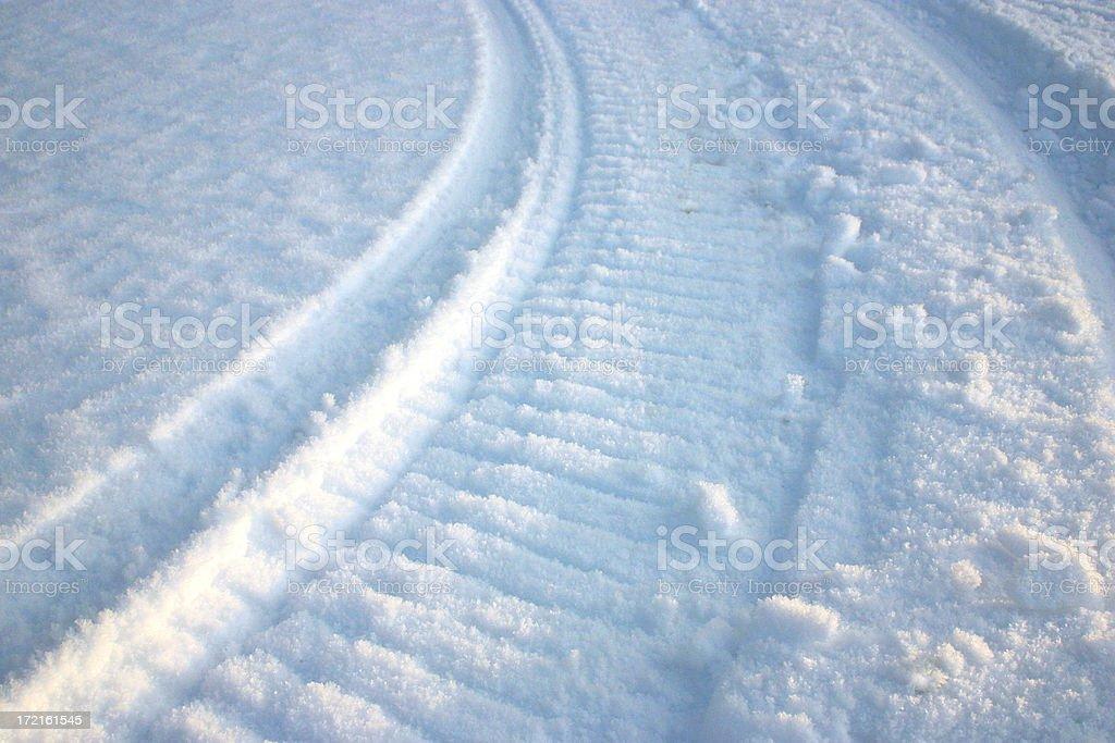 snowmobile track stock photo