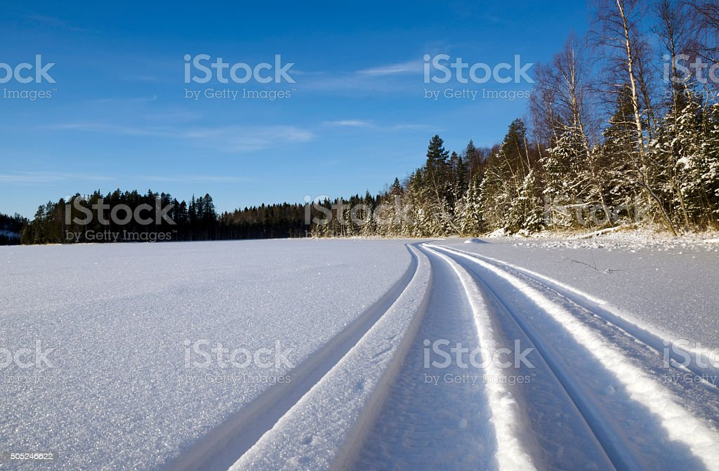 Snowmobile trail stock photo