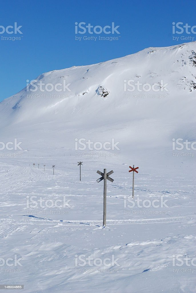 Snowmobile trails royalty-free stock photo